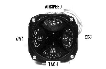 Westach Quad Gauge with Airspeed, CHT, EGT and rpm